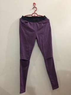 Purple cut out leggings