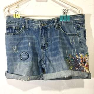 Embroidered Floral Jean Shorts