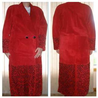 Women's - SIZE Medium - Danier Leather Red Full Length Suede Coat