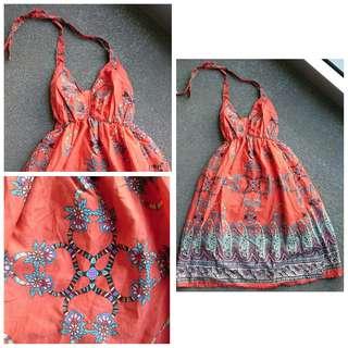 Orange floral halter dress
