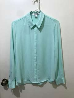 Forever 21 Pastel Teal Chiffon Polo