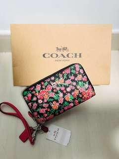 Coach double zip wallet - Pink/Black/Floral Print