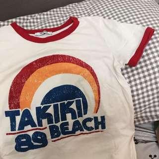 🚚 ZARA 🌈紅色滾邊杏色t恤 上衣