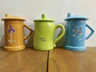 3 cups with cover (Set)