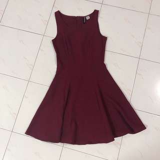H&M Wine Red Skater Dress
