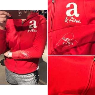 🚚 A&F女童 亮片紅色棉質連帽外套