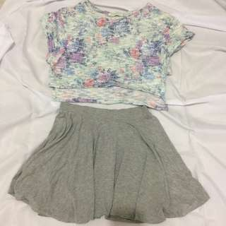 Floral crop top and skirt (top and bottom)