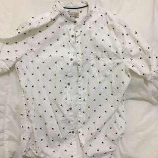 🚚 Zara 白色 短袖 圓領襯衫 含運 九成新