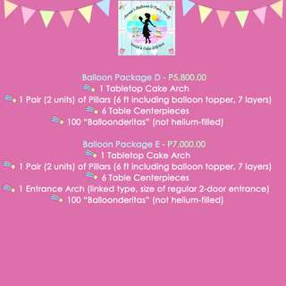 Balloon Package D (P5,800.00) and E (P7,000.00)