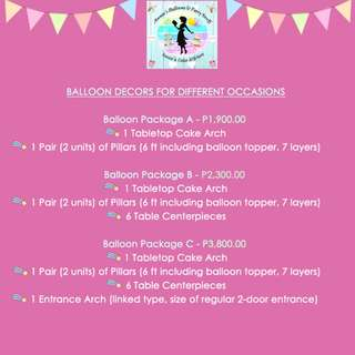 Balloon Package A, B, and C (P1,900.00 / P2,300.00 / P3,800.00)