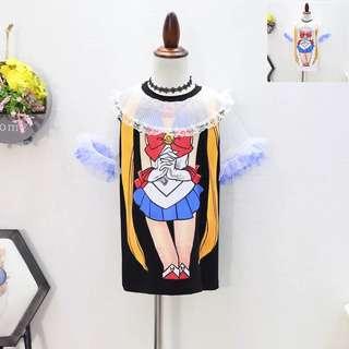 🚚 預購「7-15碼美少女戰士卡通長版上衣洋裝童裝」