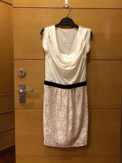 🚚 全新 日本精品品牌SHEINAR 假2件 雪紡 蕾絲窄版裙洋裝