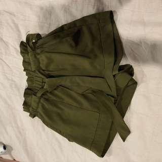 Green boutique shorts