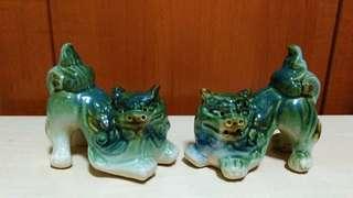 Vintage ceramic Foo Dogs.