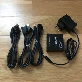 HDMI Splitter and 3 cables
