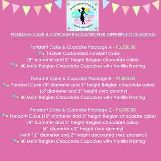 Fondant Cake & Cupcake Package A, B, and C (P3,200.00 / P3,800.00 / P6,300.00)