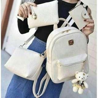 4 in 1 Backpack Free Kawaii Bear key chain korean fashion Bag