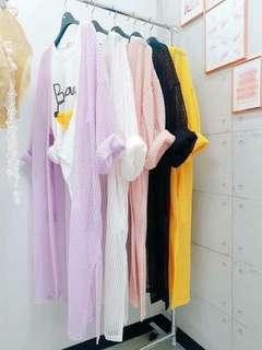 🚚 正韓 夏日百搭 提花長版針織外套   顏色: 紫 白 粉 黑 黃  肩寬:62cm 胸圍:60cm 衣長:100cm  預購