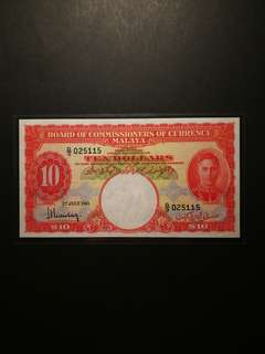 Malaya King George $10 1941 (GEF/AU)