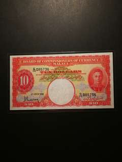 Malaya King George $10 1941 (GEF)