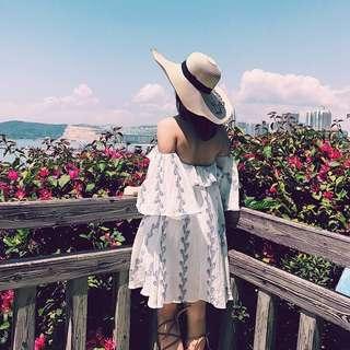 🚚 度假海島絕美平口棉麻連身裙 洋裝dress