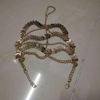 Golden leaf bohemian inspired anklet (1 piece)