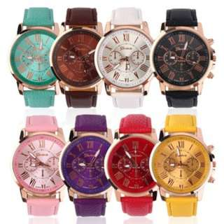 (291)Fashion Unisex Color Original Women Men New PU Genuine Leather Watches