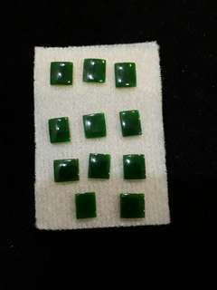 Loose Natural Emerald Jade Square Stones