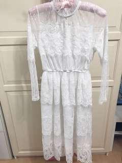 轉賣全新純白蕾絲長洋裝氣質公主夢幻仙氣
