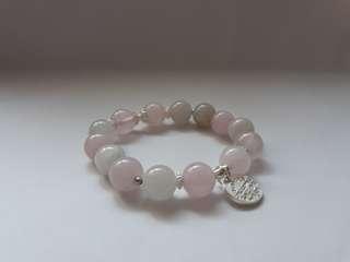 粉水晶-戀愛之石 天然水晶彈性手環