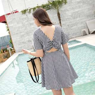 Plus Size Gingham Open back Dress