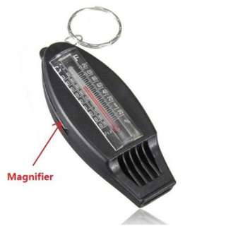 4 in 1 Thermometer Compass Magnifier Whistle Keychain