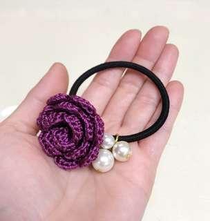 DIY人手鈎織玫瑰花橡筋髮飾