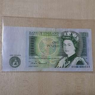 1978 Series D Bank of England 1 Pound Banknote