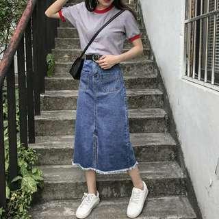 🚚 春夏新款復古高腰口袋牛仔半身裙女休閒毛邊開叉中長款A字一步裙