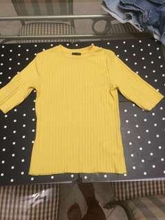 Zara Yellow Mock Neck Top