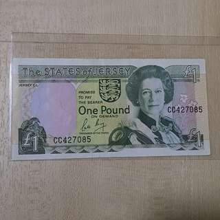 1989 States of Jersey Great Britain 1 Pound Banknote
