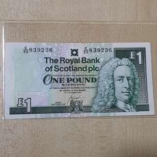 2001 Royal Bank of Scotland 1 Pound Banknote