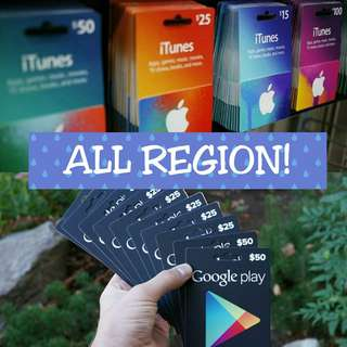 Google Play & iTunes GiftCards! [ ALL REGION ]