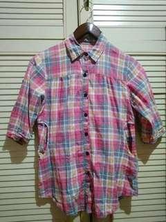 Atasan kotak-kotak / Pink Tartan Shirt