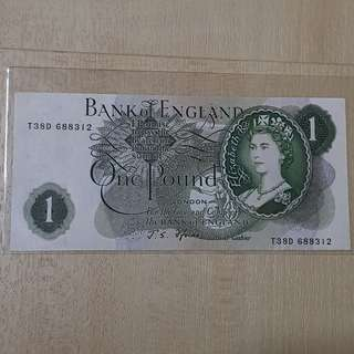 1955 to 1962 Bank of England 1 Pound Banknote