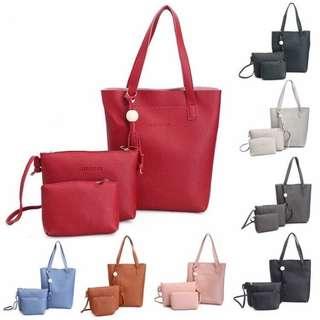 3 In 1 Bag Set women shoulder sling bags handbag purse tote pouch beg wallet