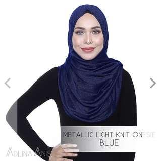 METALLIC LIGHT KNIT ONESIE - BLUE
