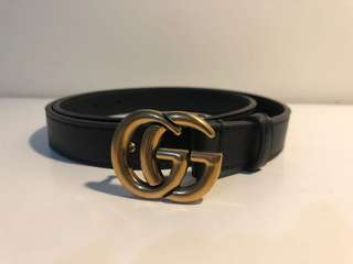 GUCCI BLACK MARMONT THIN GG BELT