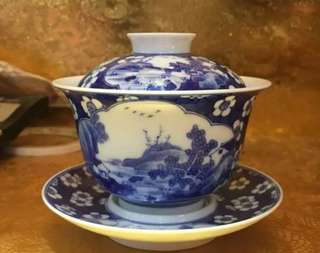 Hand-painted Blue and White Open Window logo Vintage Tea Cup