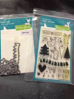 Lawn Fawn stamp set with die cuts (Snow Day)