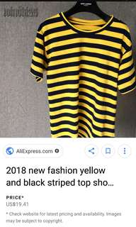 Black and yellow strip tee