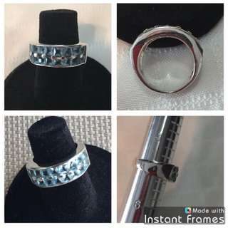 (size 5) - STERLING SILVER RING w/Blue Stones