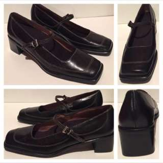 (Size US 38) - New - All Leather Black Orthopaedic Shoes