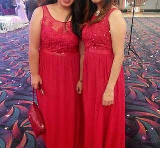 Longdress pesta merah